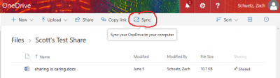 Shows the sync button for shared folders in Onedrive
