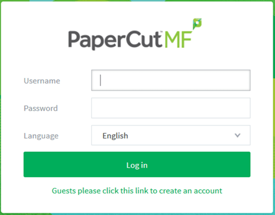 A picture of the PaperCut Login
