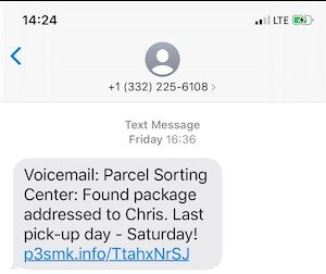 Example of Parcel Sorting Center Scam