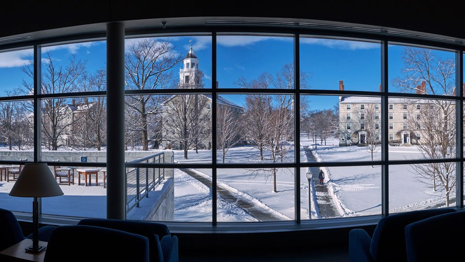 A panoramic view of the quad from the Davis Library picture window during the winter.