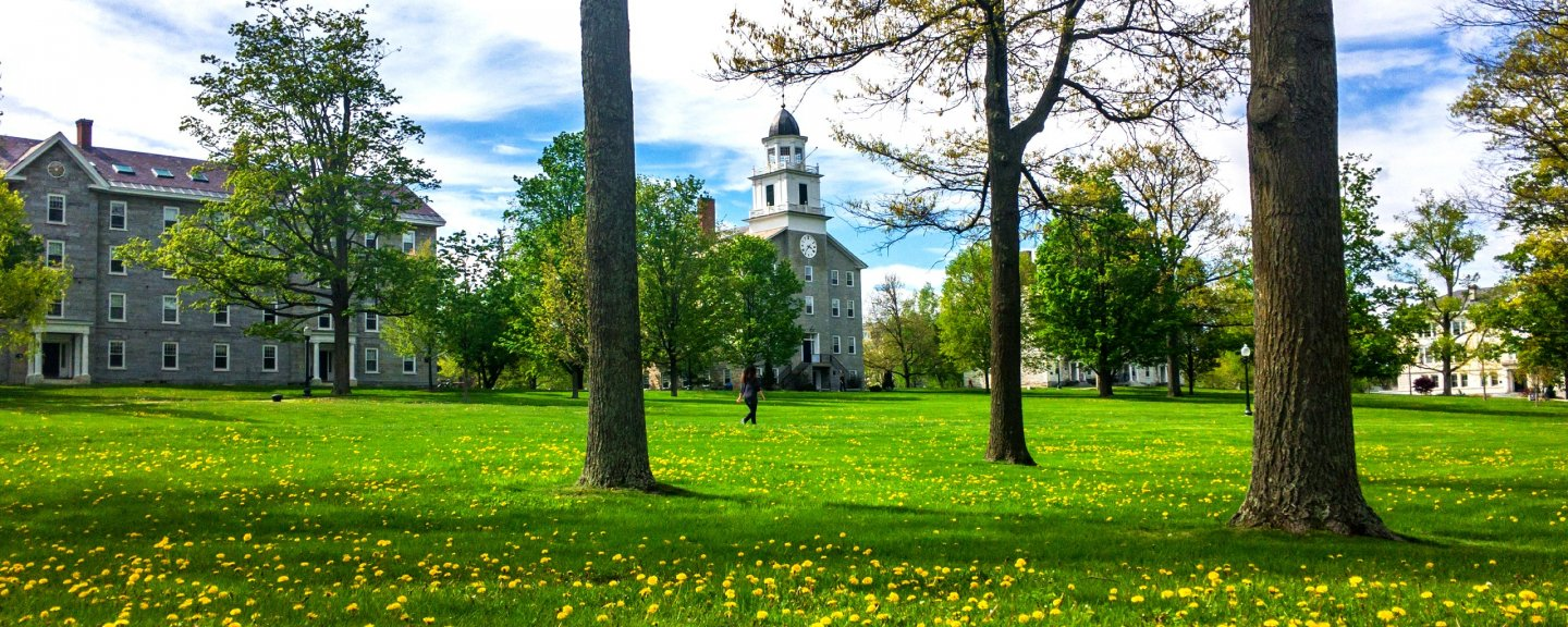 A spring morning on the Middlebury College campus.