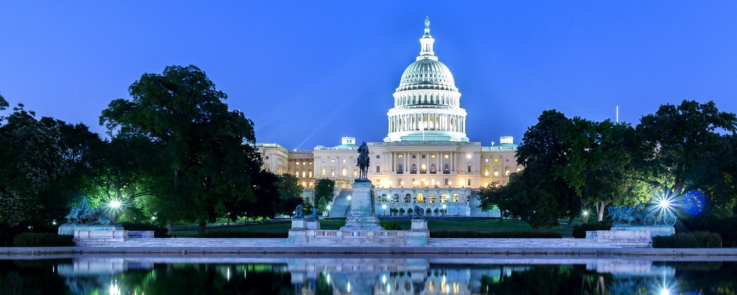 An evening view of the capitol in Washington, DC.