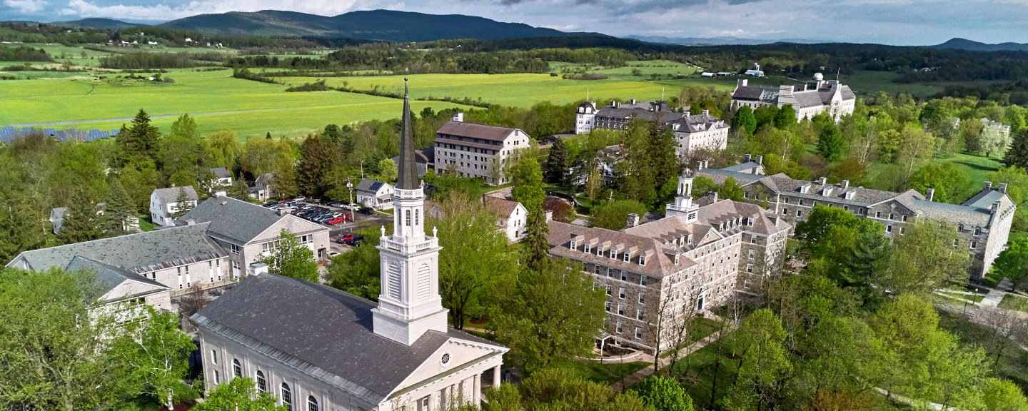 Aerial photo of Middlebury campus in Vermont.