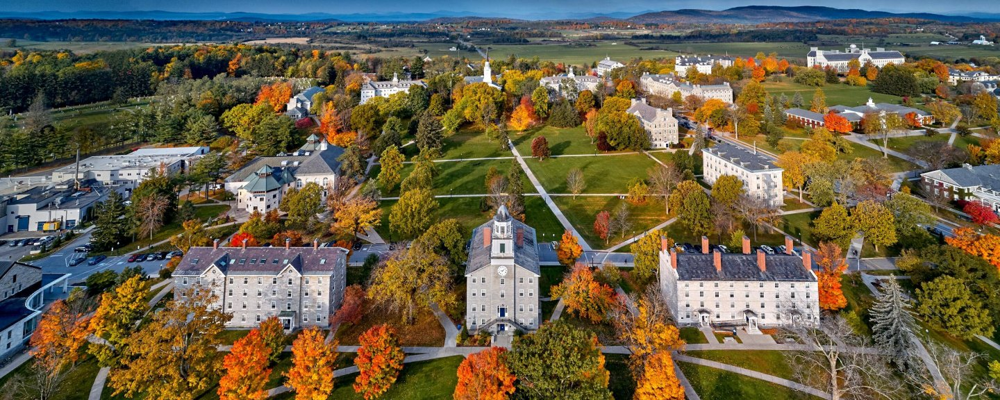 Birds eye view of Middlebury's campus in fall.