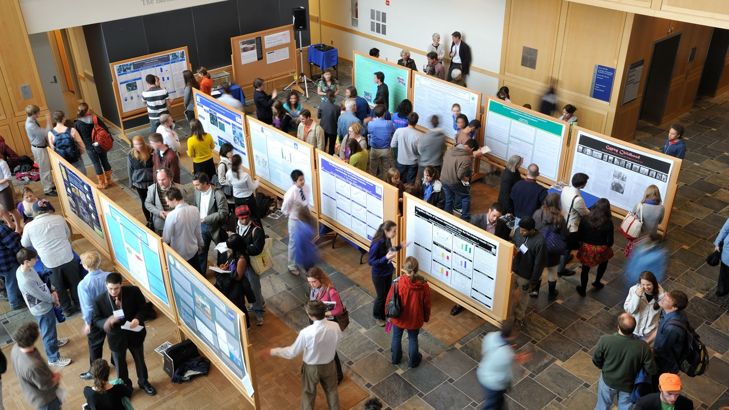 An aerial view of the Spring Student Symposium, where students present research done outside of class.
