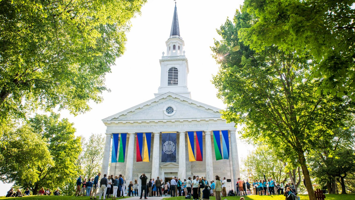 Alumni celebrate during Reunion in front of Mead Memorial Chapel