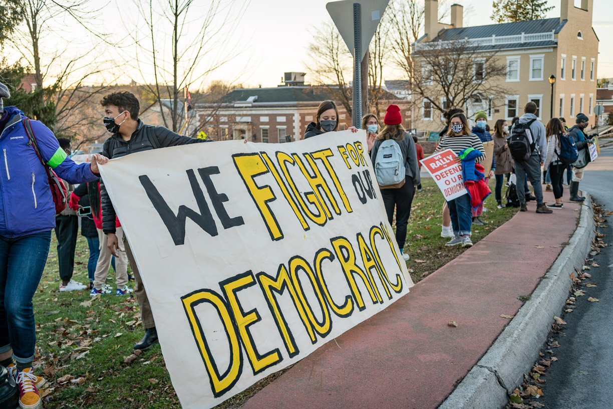 Students and community members rally for democracy