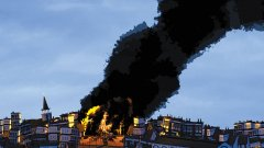 A screenshot of buildings of fire from the animated film, The Collinwood Fire