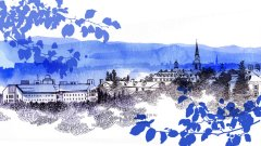 Illustration of the Middlebury campus skyline, featuring Old Chapel