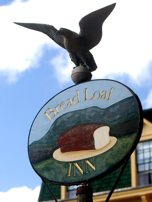 The sign post outside the Bread Loaf Inn, where the Writers' Conferences are held.