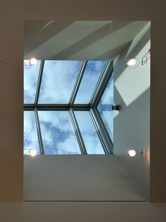 Looking up through a skylight at the Davis Library.