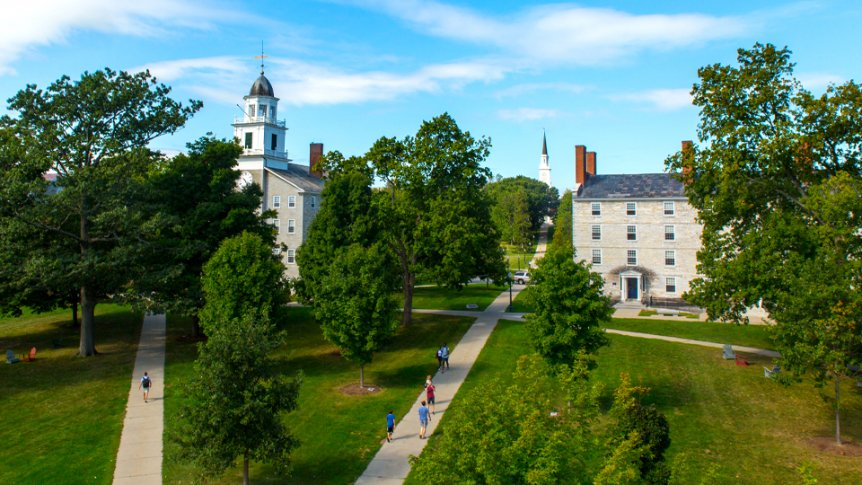 An aerial view of the Middlebury College campus central quad.
