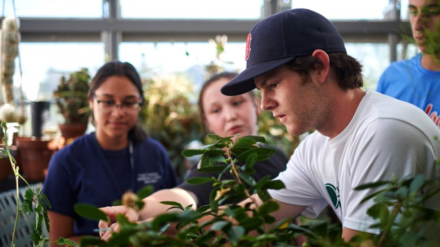 A student participates in class in the College's greenhouse.