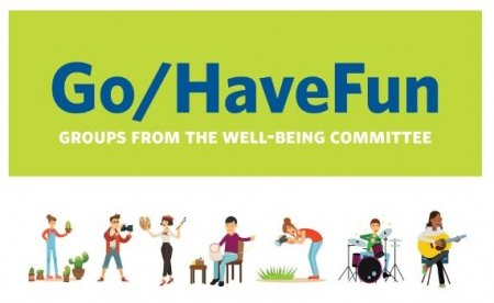 An illustration of people being active as part of the go/havefun program.