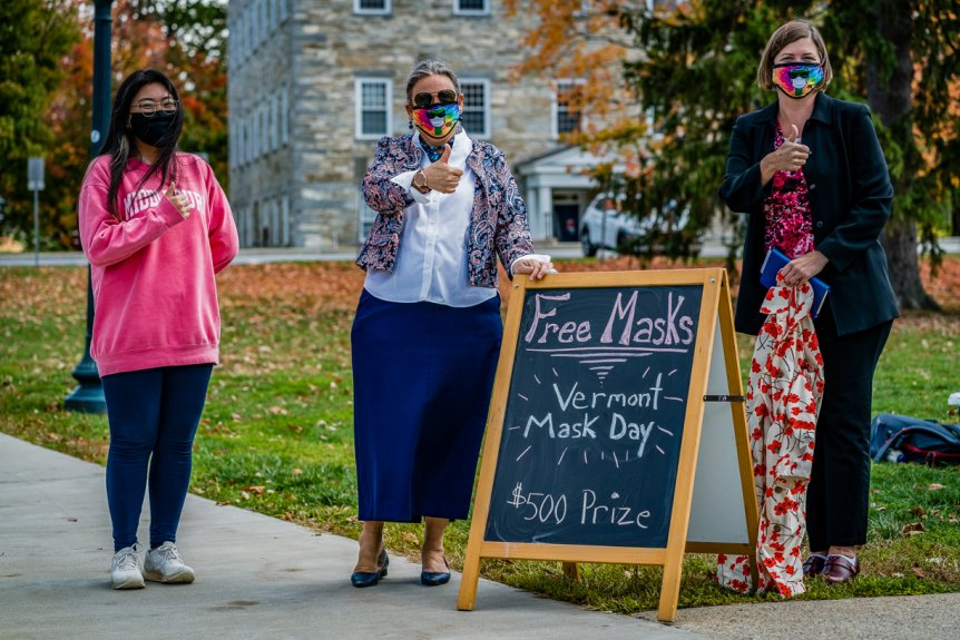 President Patton at Vermont Mask Day event on campus