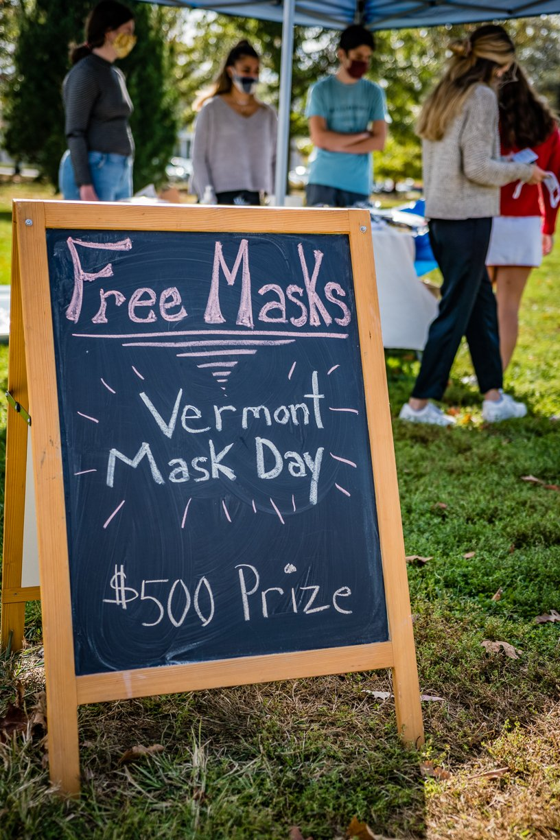 Vermont Mask Day signage and event