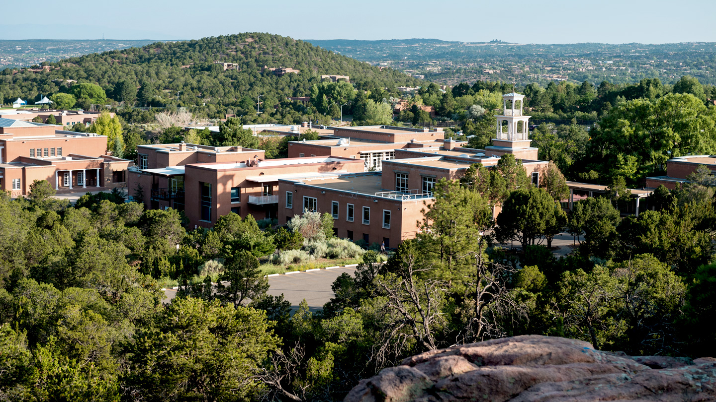 Birds eye view of the campus at Santa Fe.