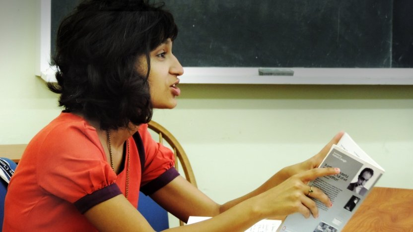 Bread Loaf student Himali Singh Soin makes a comment in class.