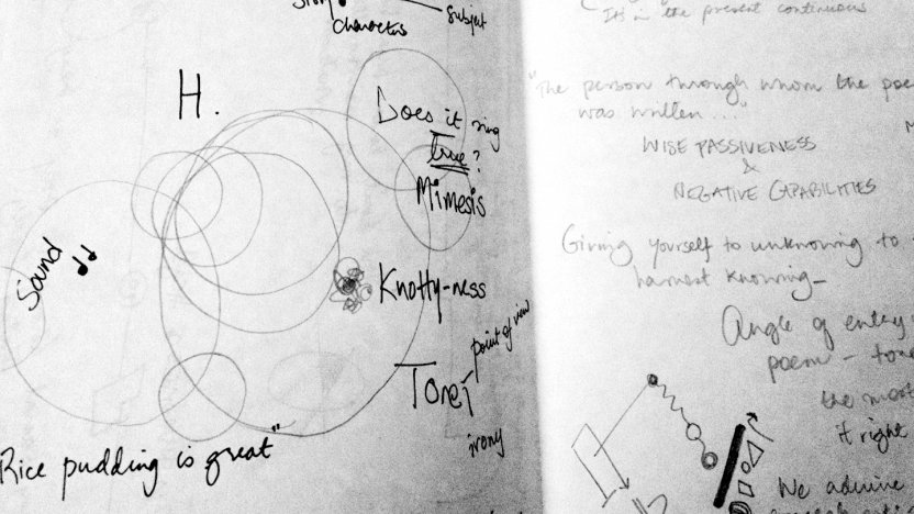 A close up of Bread Loaf student Himali Singh Soin's notes from class.