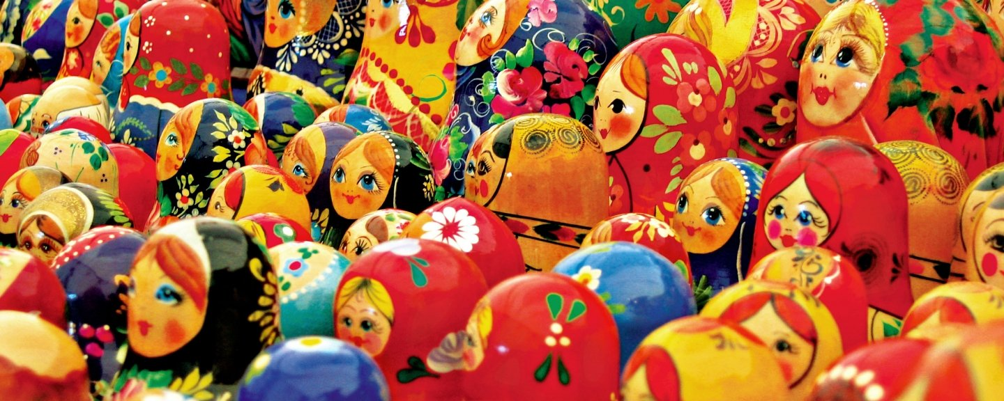 Rows of wooden dolls