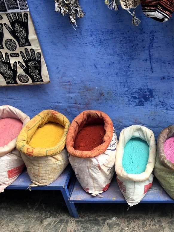 Powdered dyes in Morocco