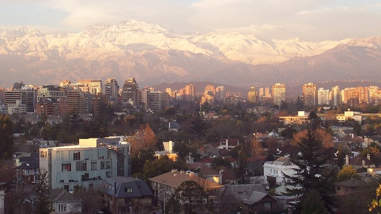 View of city of Santiago with mountains in the background