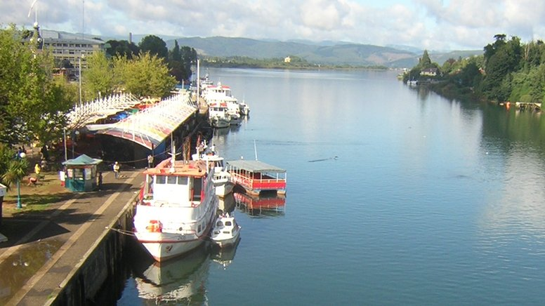View from bridge in Valdivia showing boats