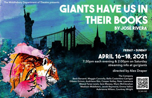 Poster for Theatre Dep. production of GIANTS HAVE US IN THEIR BOOKS by Jose Rivera