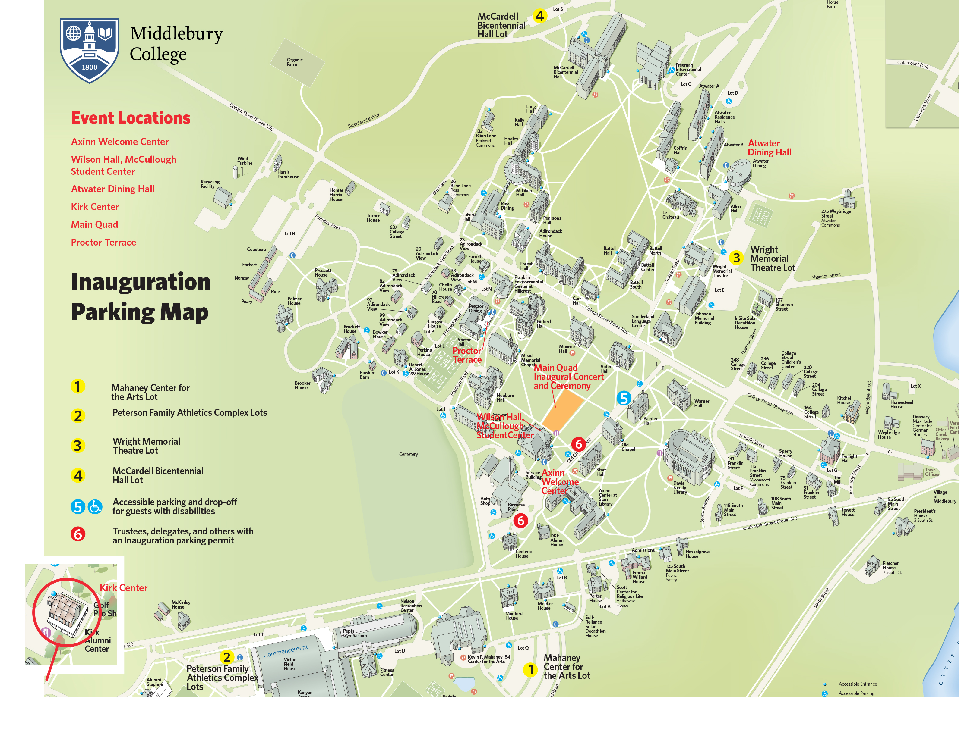 Middlebury Campus Map Parking Map | Middlebury